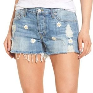 Rails Jesse Embroidered Daisy Cutoff Denim Shorts